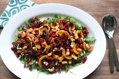 Roasted Delicata Squash & Cranberries with Cashews & Arugula by kristin :: thekitchensink, via Flickr