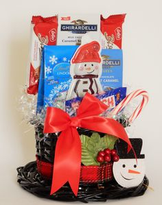 Frost the Snowman Hat Gift Basket with red bow Snowman Hat, Business Profile, Novelty Items, Gift Baskets, Floral Arrangements, Frost, Party Favors, Custom Design, Gift Wrapping