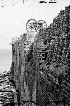 Breach patched with gabions on the north wall of Fort Sumter in the Charleston Harbor.