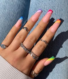 Bling Acrylic Nails, Acrylic Nails Coffin Short, Best Acrylic Nails, Gel Nails, Acrylic Nail Designs For Summer, Acrylic Nail Designs Coffin, Bright Summer Acrylic Nails, Coffin Nails Designs Summer, Gel Manicures