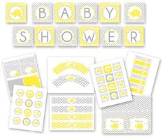 Baby shower yellow and grey party package by ceremoniaGlam