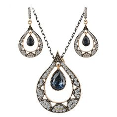 Teardrop Hurrem style necklace and earrings with CZ women's fashion jewelry sets #Hot