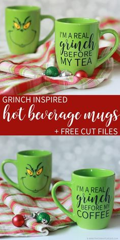 Grinch Inspired Hot Beverage Mugs! Perfect for the Grinch Fan in your life!