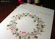 """Thumbprint Wreath """"Guestbook"""" - Great Alternative to the classic tree. Maybe make flower theme?"""