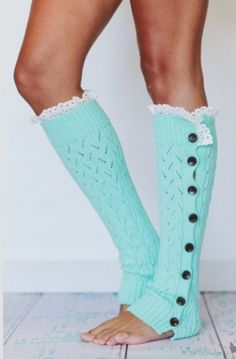 So kawaii- mint green legwarmers with buttons & lace!