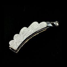 White Rhinestone Double-sided Banana Vertical Hair Barrette * Check this awesome product by going to the link at the image.