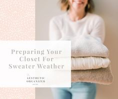 Preparing Your Closet for Sweater Weather #closetinspriation #californiaclosets #closetdesign #closetideas #decorideas #whitecloset #sweaterfolding #howtofoldasweater Wardrobe Organisation, Linen Closet Organization, Closet Storage, Bathroom Organization, Organization Hacks, Beautiful Closets, White Closet, California Closets, Small Space Solutions