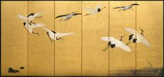 21 Ideas For Japanese Folding Screen Exhibitions Japanese Screen, Japanese Wall, Art Chinois, Feuille D'or, Art Asiatique, Japanese Painting, Chinese Painting, Painting Art, Art Japonais