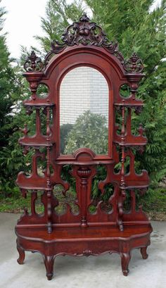 Gorgeous Victorian Rococo Highly Carved Walnut Mirrored Etagere C. 1870