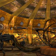maya steampunk interior - Steampunk interior... by deadhead