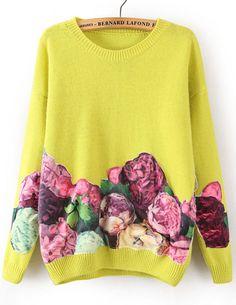 Jersey suelto floral manga larga-amarillo