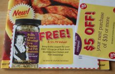 FREEBIE (as of 4/16/12) -- Do you have a Penzey's Spice store nearby?  If so, Penzey has FREE catalogs that often have FREE spice and seasoning coupons inside! In their most recent catalog, you should spot a coupon valid for a FREE 1/2 cup jar of Ruth Ann's Muskego Ave Chicken & Fish Seasoning. * If you'd like to request a FREE catalog, just go here & fill out the catalog request form. Penzeys sends out seven catalogs a year, so you may be able to score 7 FREE spices!