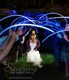 Using Single Color Glow Stick Necklaces for the Glow Wedding Sendoff - https://glowproducts.com/us/22inchglownecklace