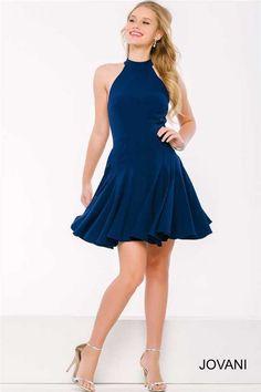 Halter Neck Short Navy Jovani 42455 Homecoming Dresses Cheap
