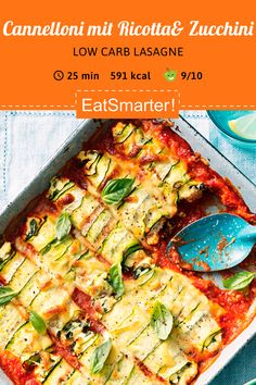 Low carb Rezept: Cannelloni mit Ricotta, Spinat und Zucchini Low carb recipe: cannelloni with ricott Clean Eating Breakfast, Clean Eating Meal Plan, Clean Eating Recipes, Healthy Dinner Recipes, Vegetarian Recipes, Breakfast Recipes, Paleo Breakfast, Law Carb, Evening Meals