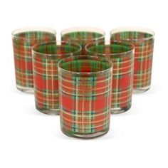 Check out this item at One Kings Lane! Red Plaid Lowball Glasses, S/6