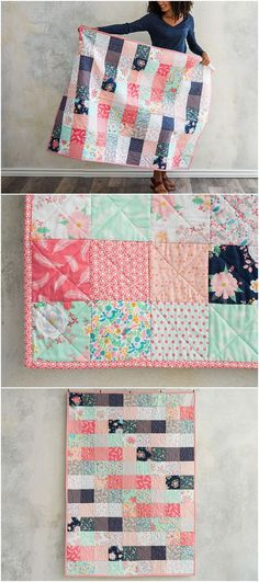 Like A Charm Dreamfield Quilt Kitby featuring Lily & Loom Dreamfield. Modern patchwork quilt kit and quilt pattern. Charm friendly quilt pattern. affiliate link.