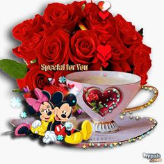 Mickey mouse and Minnie Mouse Valentines Gif, Happy Valentines Day, Valentines Flowers, Beautiful Gif, Beautiful Roses, Good Morning Coffee, Glitter Graphics, Gif Pictures, Mickey Minnie Mouse