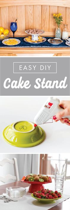 Why should cake have all the fun? These Easy DIY Cake Stands are great for displaying everything from fruits and cookies, to dips and desserts. So whether you're hosting a buffet, birthday party, or bridal shower, repurpose your old dishware or flea market finds into these versatile platters.