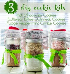 3 DIY Cookie Mix Kits and free printables from @Rachel Lacy (Following In My Shoes) (following in my shoes)
