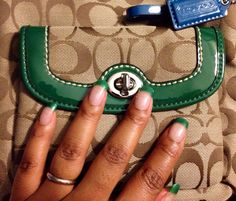 """Here I go again! Coach Signature Swing Pack with my China Glaze Polish in """"Paper Chasing"""" #Fashion #Style #Nails #Coach"""