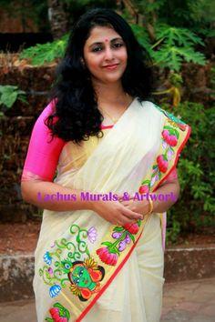 The lotus-krishna border semi tissue saree
