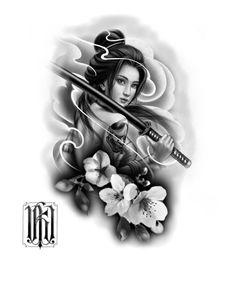 Geisha Tattoo Design, Tattoo Design Drawings, Tattoo Sketches, Japanese Geisha Tattoo, Japanese Tattoo Designs, Lion Head Tattoos, Baby Tattoos, Celtic Tattoo Symbols, Pocket Watch Tattoos