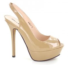 "A great nude pageant shoe to have in the closet!  Also comes in black and red.  6"" heel, 1 1/2"" platform, $54.00, only at L&M Bling 