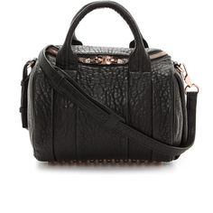 Alexander Wang Rockie Duffel Bag - Black (11.581.250 IDR) ❤ liked on Polyvore featuring bags, handbags, black duffle bag, black bag, duffle bag, zip top bag and studded leather bag