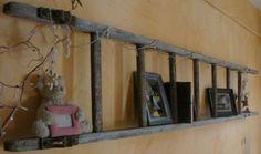 Echelle en bois transformée en étagère murale