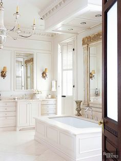 Millwork in a house is like the details on a fine piece of furniture. Whether you prefer clean lines or elaborate ornament, millwork in a variety of designs and applications can add flourish to any room. Bathroom Design Layout, Bathroom Interior Design, Dream Bathrooms, Beautiful Bathrooms, White Bathrooms, Luxury Bathrooms, Master Bathrooms, New Toilet, Tub Surround