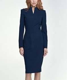 Navy Blue Notch Neck Sheath Dress