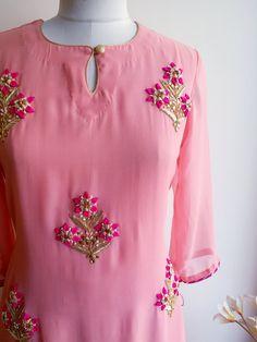 Pink Handwork Kurta and Skirt : Light Pink Kurta with handwork Gota Patti bootis with side tassels paired with a Fuschia skirt Dress Neck Designs, Designs For Dresses, Blouse Designs, Salwar Designs, Kurti Designs Party Wear, Kurti Embroidery Design, Embroidery Dress, Hand Embroidery, Kurti Patterns