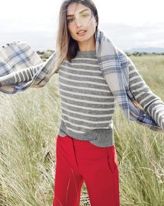 DEC '15 Style Guide: J.Crew women's Holly sweater in stripe, patio pant and plaid pom-pom scarf.
