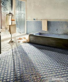 Moroccan inspired bathroom with Tadelakt and intricate tiling. #Moroccan #Bath #Inspiration.
