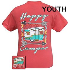 Girlie Girl Originals Youth Happy Camper Short Sleeve TshirtCorallarge -- You can get more details by clicking on the image.Note:It is affiliate link to Amazon.