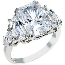 Platinum Diamond Engagement Ring, With Radiant Cut Center Flanked By Step Cut Half-Moon And Bullet Shape Diamonds