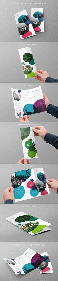 Cool Ecologic Circles Trifold (CS4, 8.5x11, a4, blue, brochure, business, clean, cool, ecologic, flexible, green, letter, minimal, modern, print, simple, trifold)