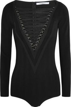 Lace-up stretch-jersey bodysuit in black #offduty #covetme #givenchy
