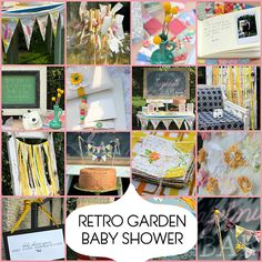 Retro garden baby shower.  I like that little blue jug holding the yellow flowers!