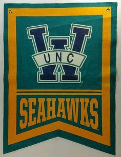18b214f3bec UNCW Seahawks College Basketball Vintage Wool Felt Pennant 17.5 x 23.5  Future School