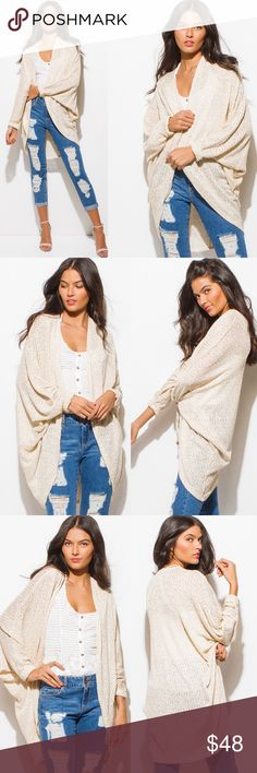 ADDIE Dolman Cardigan - BEIGE Knit dolman cardigan  55% Rayon, 38% Polyester, 5% Modal, 5% Spandex  OVERSIZED FIT  NO TRADE, PRICE FIRM Bellanblue Sweaters Cardigans