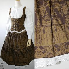 Lovely brown vest and skirt set with a crisp blouse. I love it when circle skirts have prints or motifs on them like this!