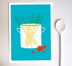 Artist watch: ANEK.  Kitchen Art Print  - Spaghetti  - Simple Italian Kitchen Art - Minimalist Illustration -  high quality fine art print
