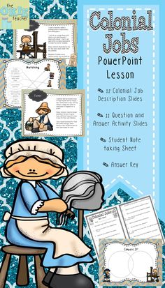Colonial Jobs PowerPoint Lesson with over 25 slides. Has great question and answer activities. 5th grade social studies