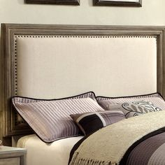 Embracing a natural look, this headboard surely demonstrates style and comfort. The headboard features padded fabric upholstery traced by a sleek nailhead trim accent. The piece is finished in a beautiful polished natural ash hue. Grey Headboard, Wingback Headboard, Panel Headboard, Upholstered Beds, Headboards For Beds, Upolstered Headboard, Bedroom Furniture, Home Furniture, Furniture Makeover