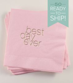 Best Day Ever (Lower) Napkins: Blush/Gold 50 ct Wedding Cocktail Napkin