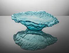 "Annieglass Sculpture 28 x 20 x 8 ½"" Water Bowl Sculpture - Ultramarine series of 500, Price: $525.00, 28.0 inches x 20.0 inches x 8.5 inches in Scarsdale, NY from La Dentelliere"