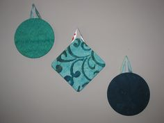 "Set of 3 7"" Batik Fabric Covered Cork Boards in Teal and Turquoise - pinned by pin4etsy.com"