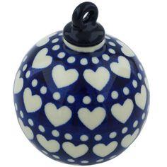 Polish Pottery 4-inch Ornament Christmas Ball | Boleslawiec Stoneware | Polmedia H1617H | Polmedia